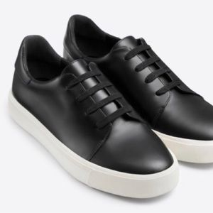 Vince Bale Black Leather Lace-Up Sneakers size 7